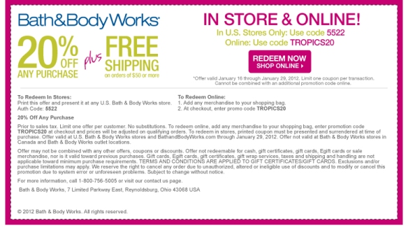bath and body works 20 plus free shipping