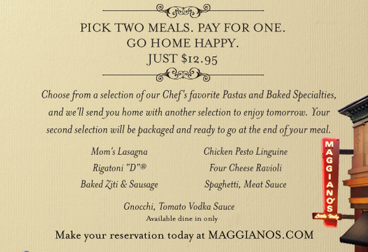 maggianos coupon 12.95 meal